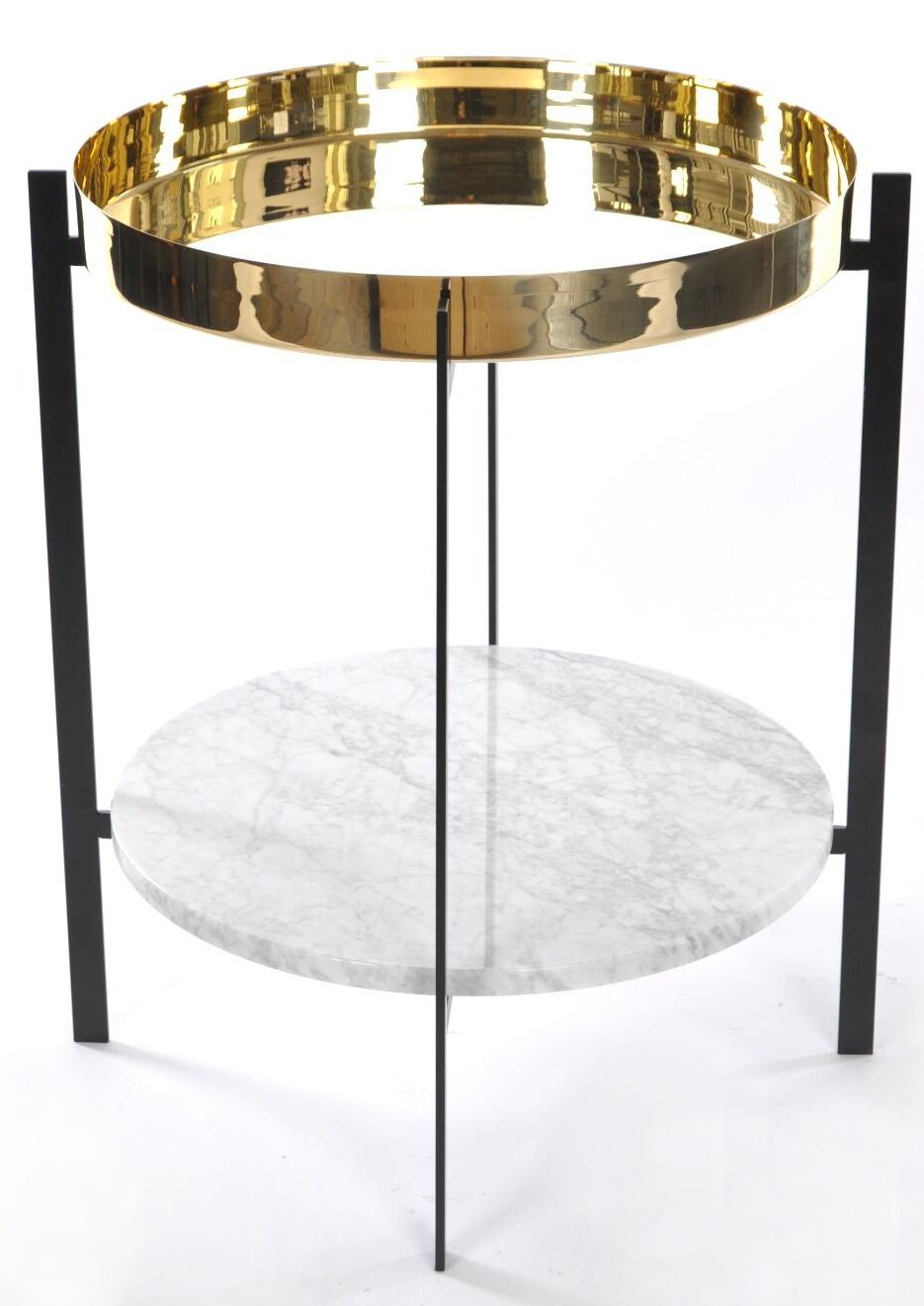 OxDenmarq Deck Bijzettafel - 57 X H67 Cm - Zwart Frame - Messing Tafelblad - Wit Marmer