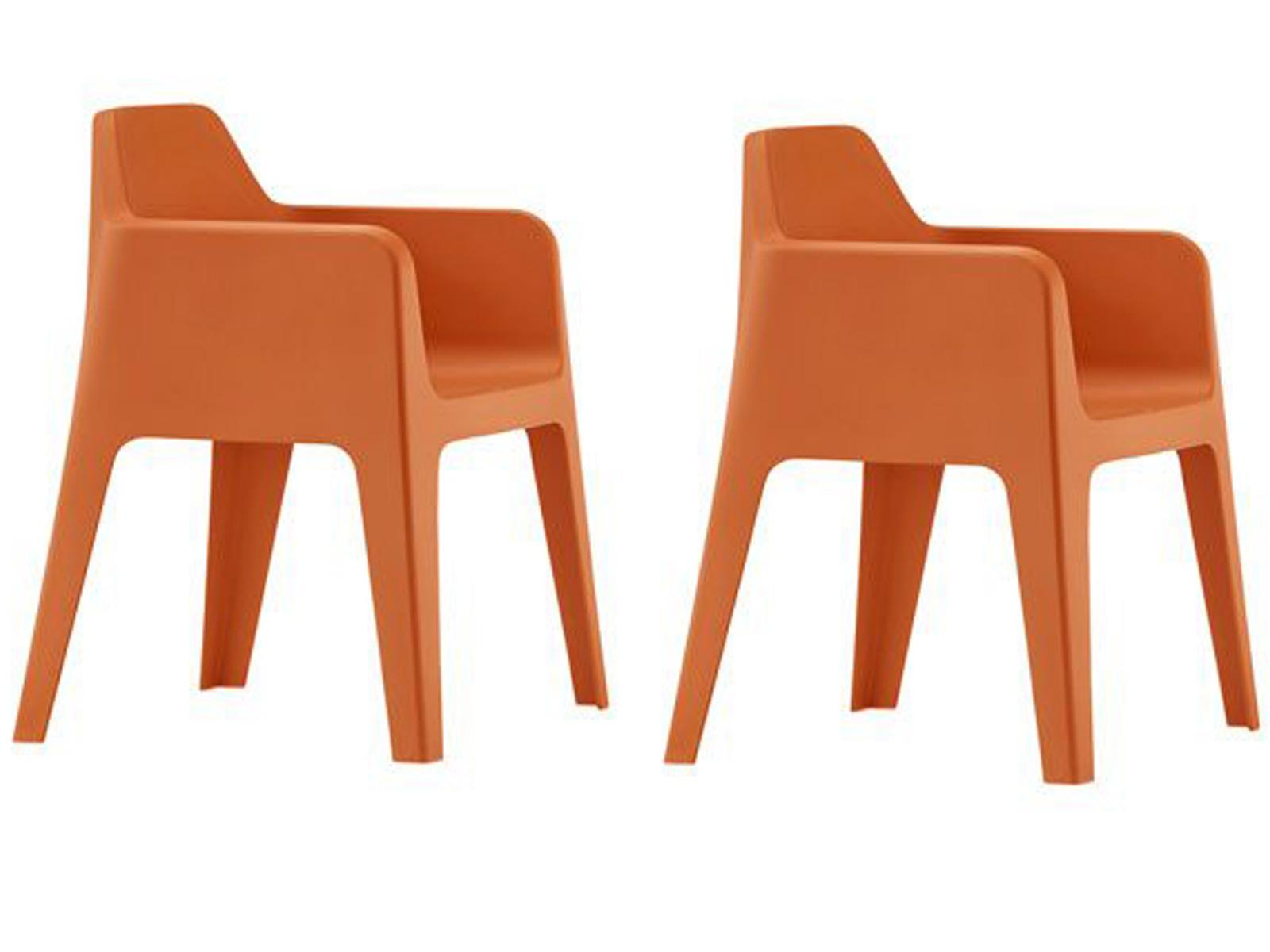 Pedrali Plus 630 Tuinstoel Set Van 2 - Kunststof - Oranje