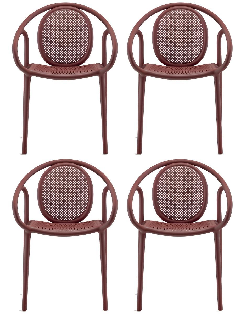 Pedrali Remind 3735 Tuinstoel&Terrasstoel - Set Van 4 - Rood Kunststof