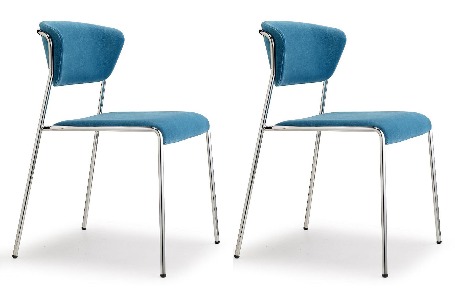 SCAB Design Lisa Stoel - Set Van 2 - Blauw Fluweel - Chromen Metalen Frame