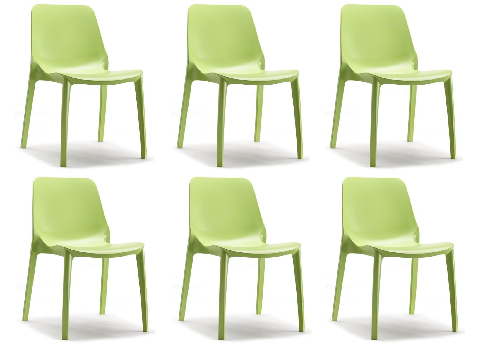 SCAB Ginevra Tuin-&Terrasstoel - Set Van 6 - Kunststof - Pistache Groen