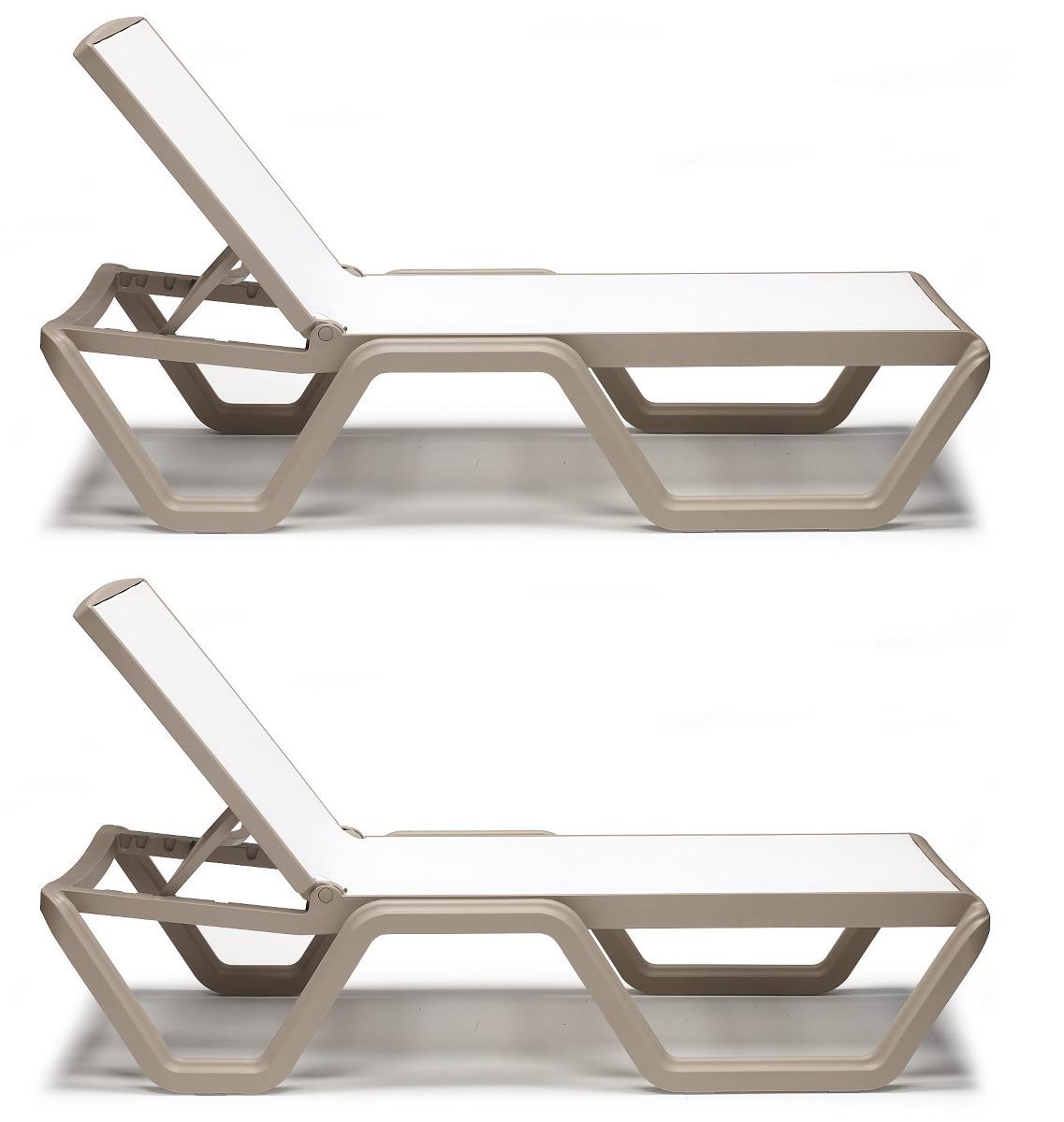 SCAB Vela Verstelbaar Ligbed Met Wielen - Set Van 2 - Duifgrijs Met Witte Stof