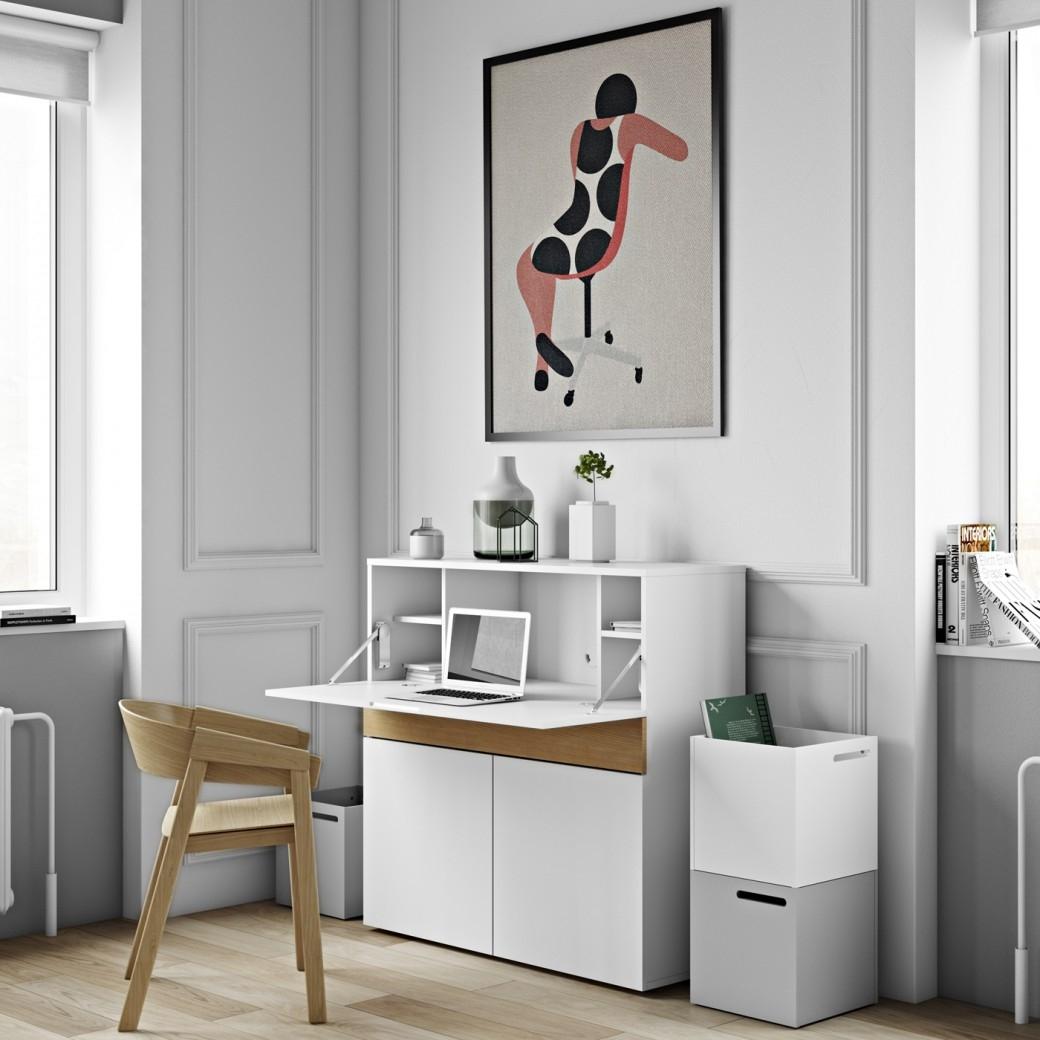 TemaHome Bureau Focus - 110x42x109 - Mat Wit/Eiken