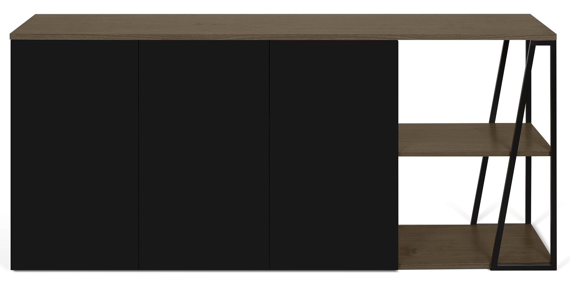 TemaHome Albi Dressoir 3-Deurs - B190xD45xH81 - Zwart Metaal - Walnoot