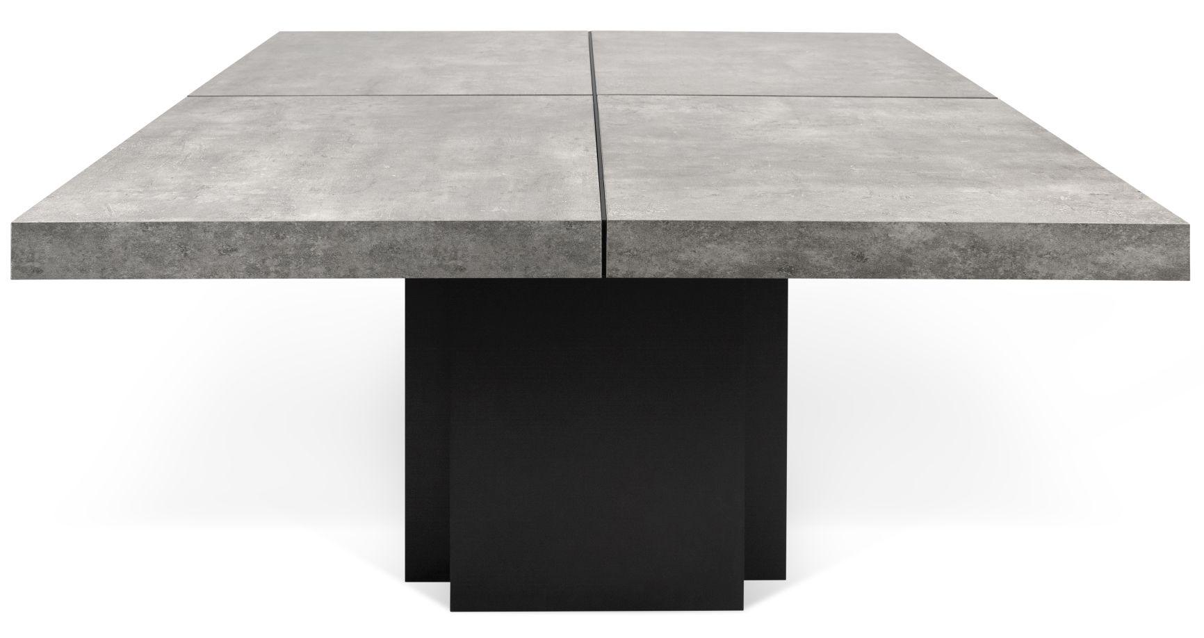 TemaHome Vierkante Tafel Dusk 130 - Grijs Tafelblad - Zwart Onderstel
