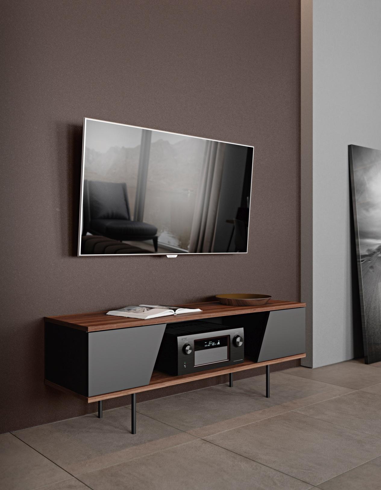 TemaHome TV Meubel Dixie - 2 Deurs - 140x40x51 - Zwart - Walnoot