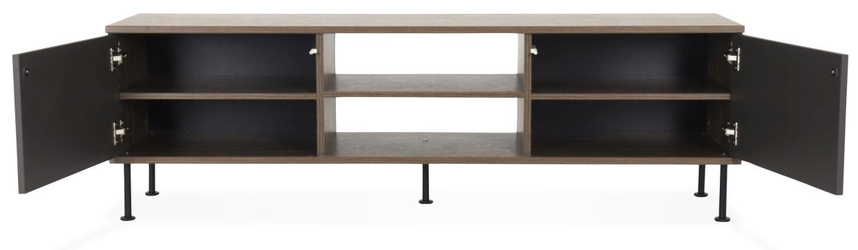 Tenzo Daxx TV-meubel - 2-Deurs - 163x43x47 - Mat Antraciet - Walnoot