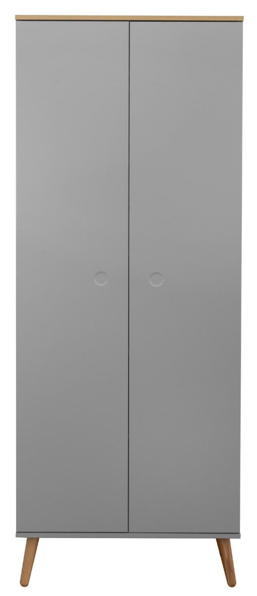 Tenzo Dot Kledingkast Grijs 2-Deurs - B79 X D37 X H201 - Eiken Poten