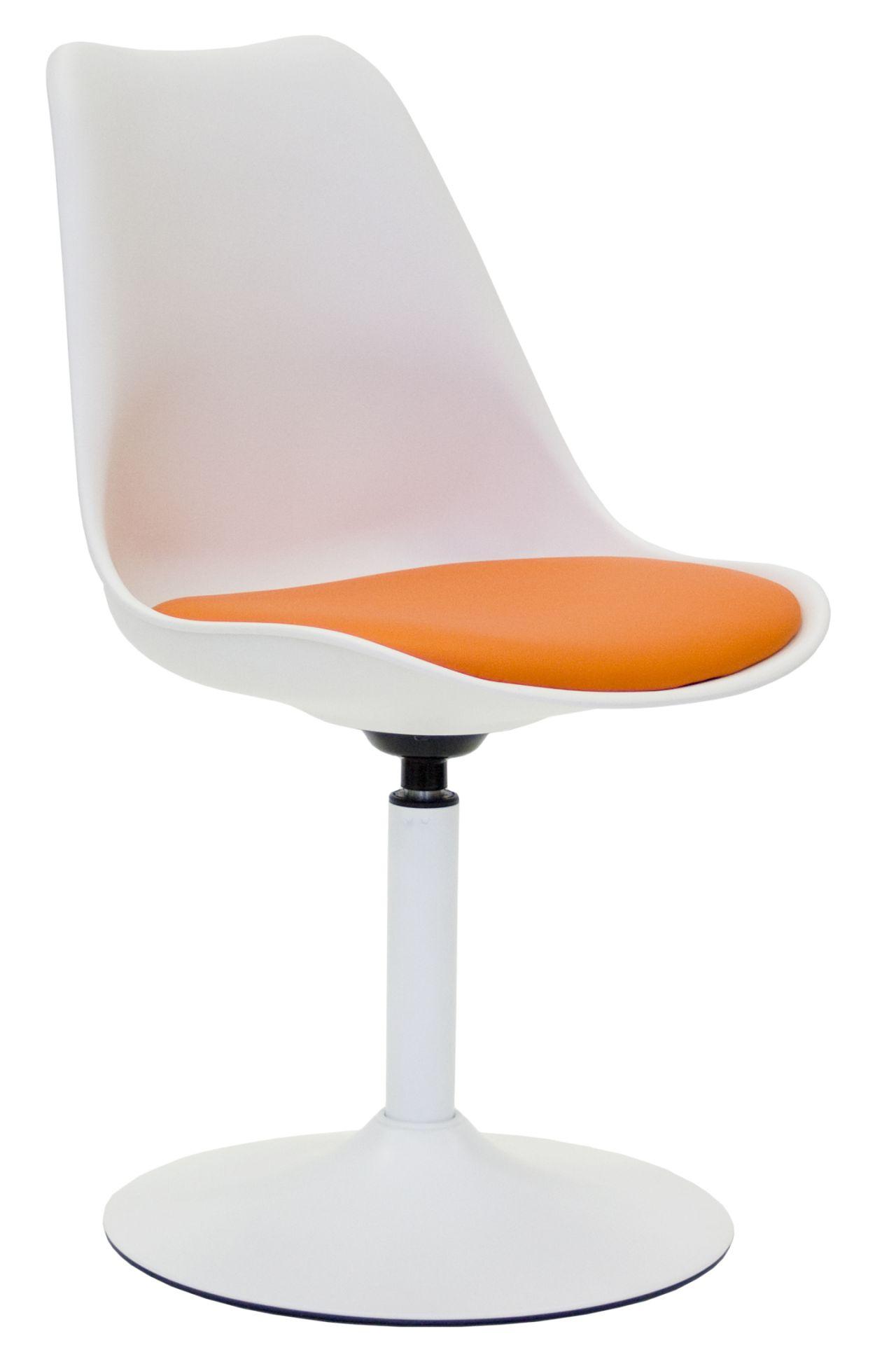 Tenzo Viva Stoel - Witte Zitting - Oranje Zitkussen - Wit Metalen Onderstel