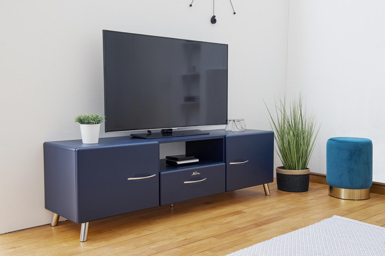 Tenzo Nova TV-Meubel 2-Deurs/1-Lade - 168x43x51 - Mat Blauw