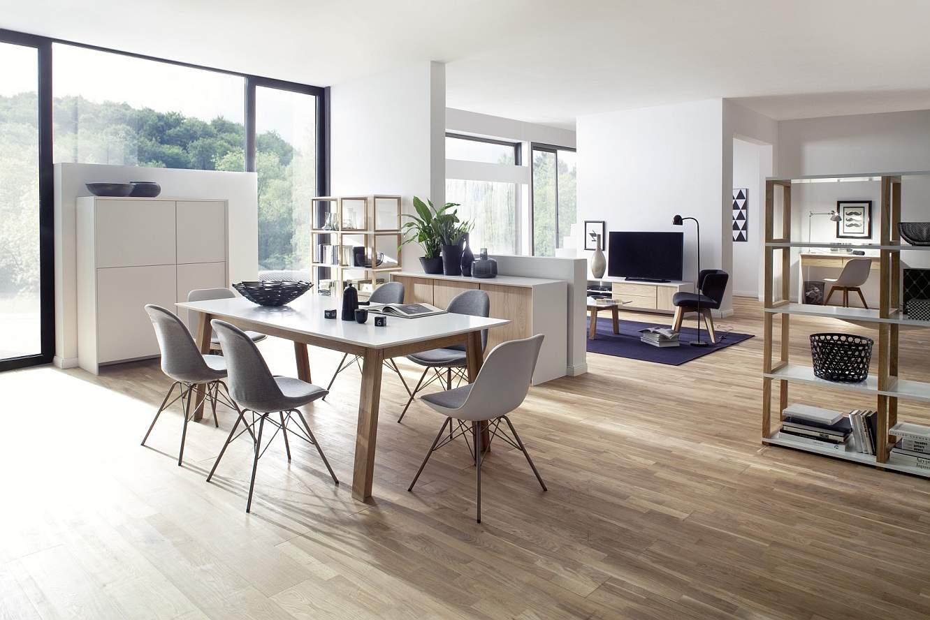 Tenzo Uitschuifbare Eettafel Profil 210/270x95x75 - Mat Wit Tafelblad - Eiken Poten