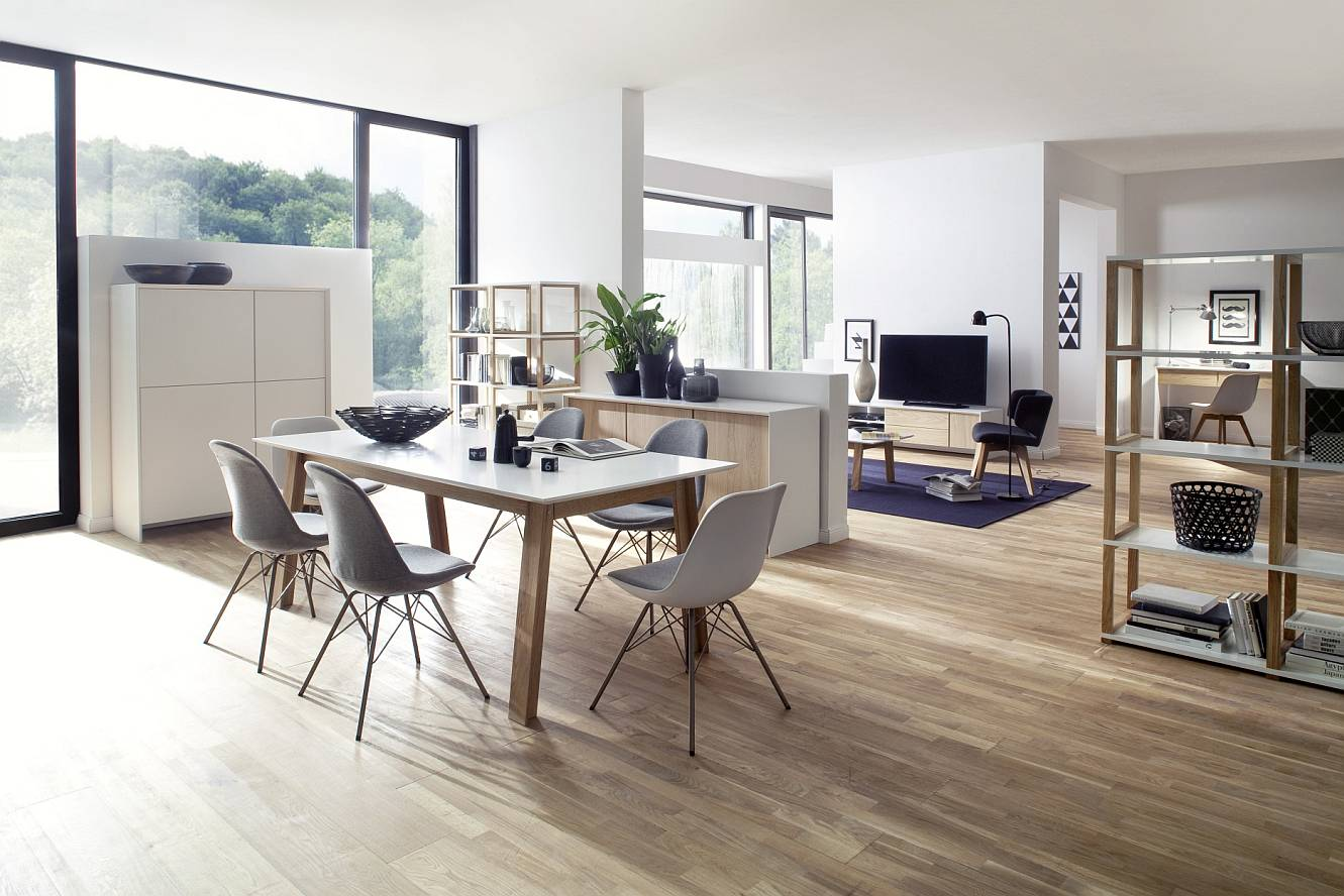 Tenzo Eettafel Profil - 180x95x75 - Mat Wit Tafelblad - Eiken Poten
