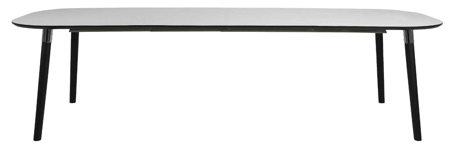 24Designs Uitschuifbare Tafel Penny - 180/280x100 Cm - Wit HPL Tafelblad - Zwarte Houten Poten