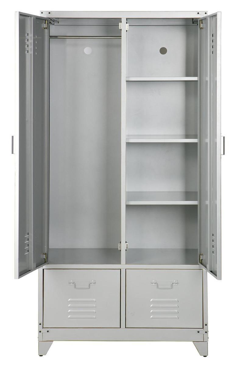 Vtwonen Lockerkast 2-Deurs/2-Laden - 90x50x190 - Metaal Zilvergrijs