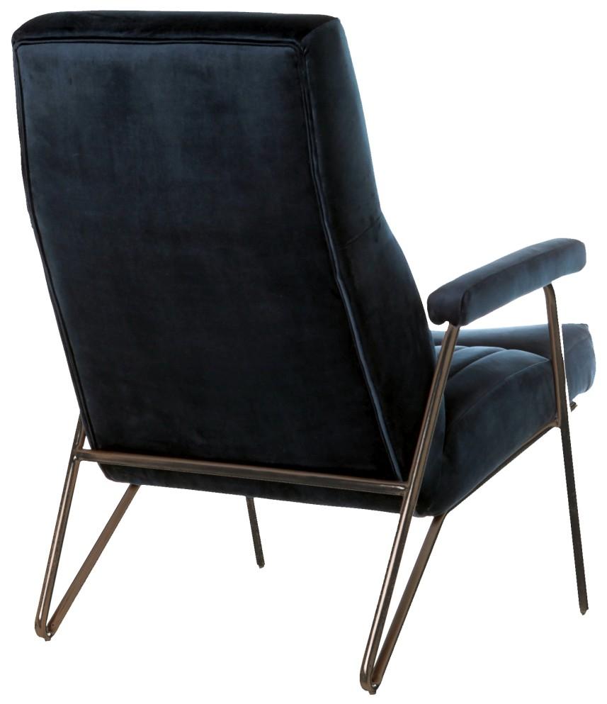 Eleonora Fauteuil William - Blauw Velvet - Armleuning - Zithoogte 44 Cm