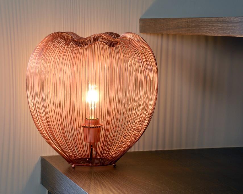 Lucide Tafellamp Wirio 1-LichtsØ35 X H36 Cm - Metaal Koper
