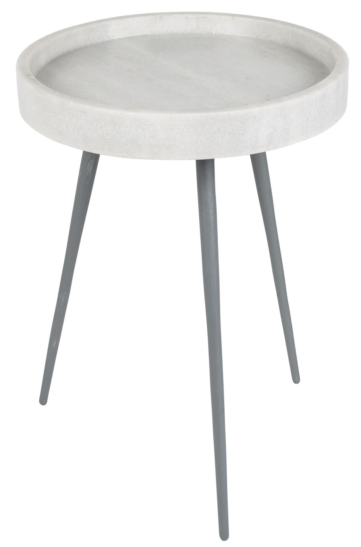 Zuiver Bijzettafel Karrara -Ø33 X H45 Cm - Marmer - Wit