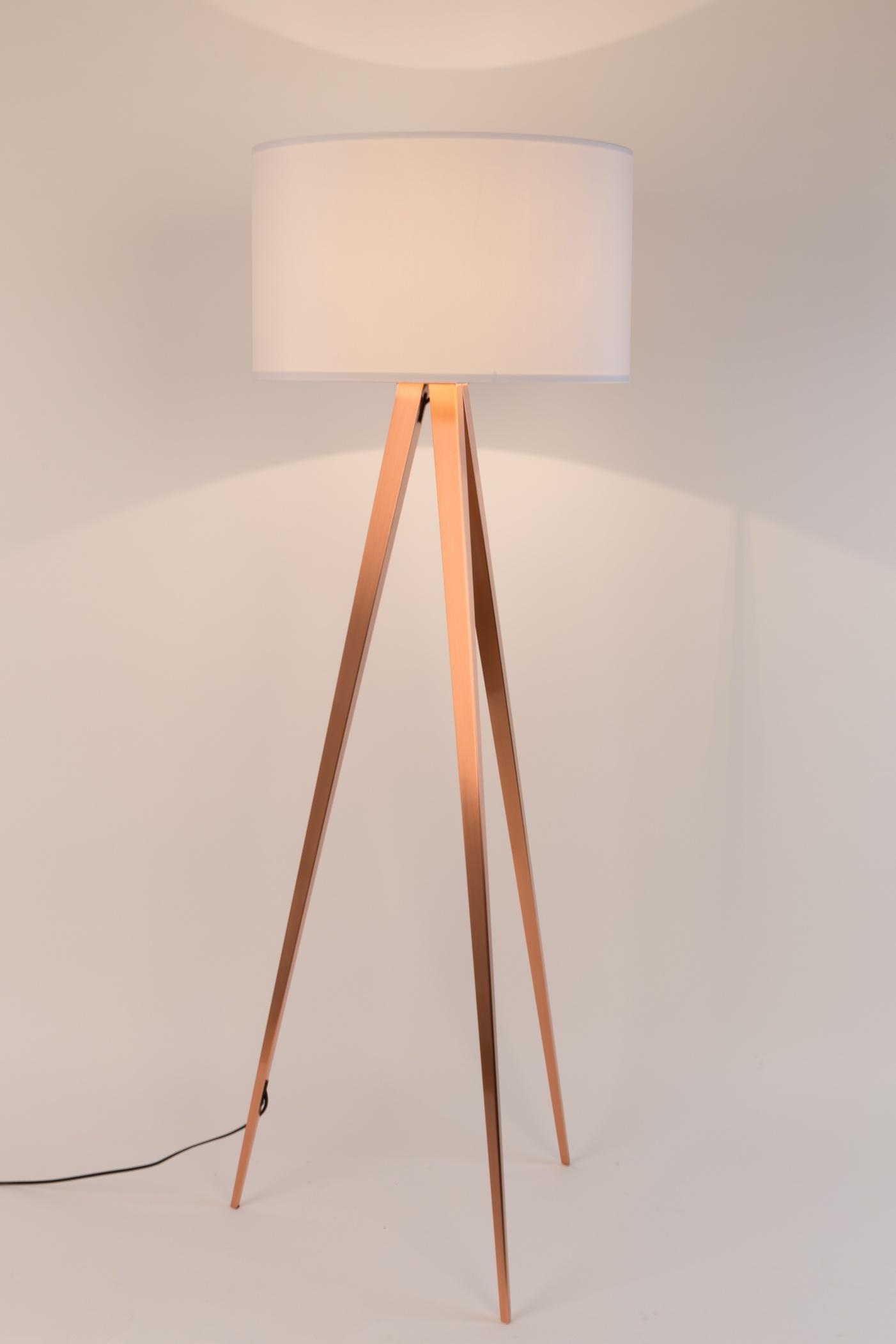 Zuiver Vloerlamp Tripod - H154 Cm - Koper - Witte Lampenkap