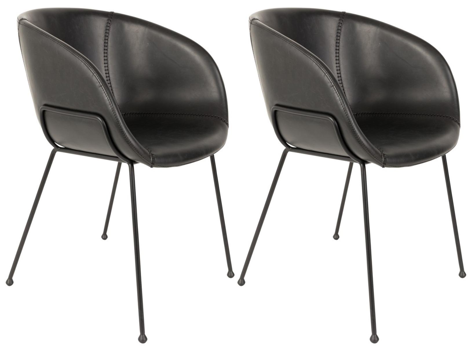 Zuiver Feston Stoel - Set Van 2 - Kunstleer Zwart - Zwarte Metalen Poten