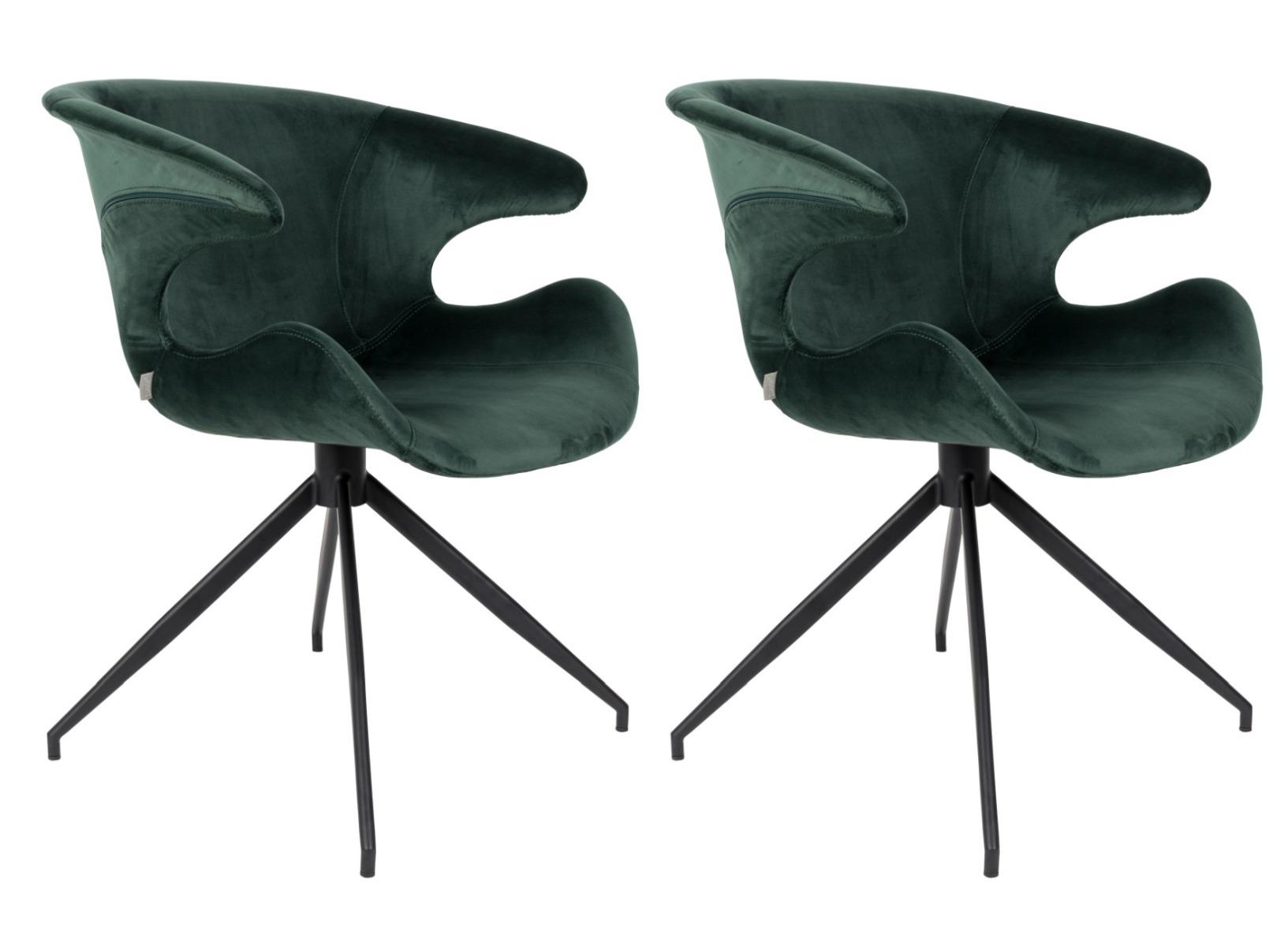 Zuiver Mia Stoel - Set Van 2 - Fluweel Groen - Zwart Metalen Onderstel