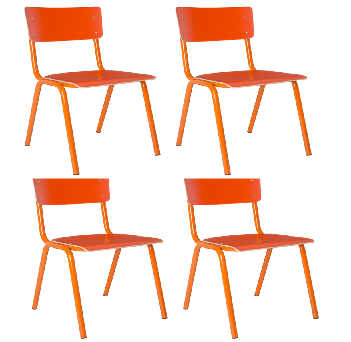 Zuiver Set 4 Stoelen Back To School HPL - Oranje