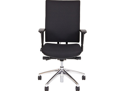 24Designs Bureaustoel Business Calgary Comfort - Stof Oasis Zwart - Gepolijst Aluminium onderstel